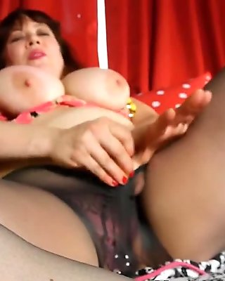 Chubby Mom Fucks Her Mature Pussy Through Her Pantyhose With A Dildo