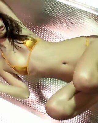 Sexy Asian Girl Dance - Gold Bikini