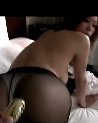 Busty Office Lady Hole On Pantyhose Stimulated And Fucked With Toys Licked Fingered On The Bed In The Room