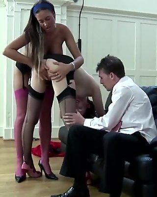 Mature milf in stockings clit pleasuring babe