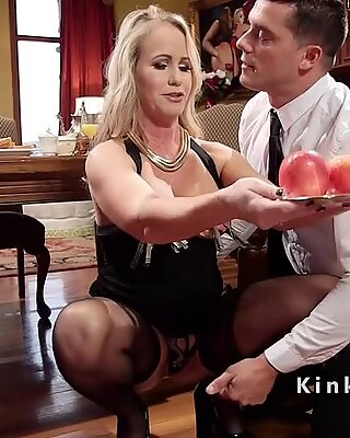 Blonde slaves anal fucked in threesome