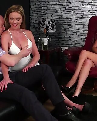 Glam clothed milf sucks naked dudes dick