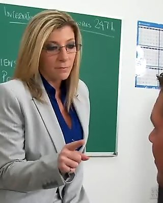 Milf teacher Sara Jay strips into her lingerie and fucks