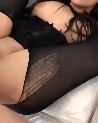 black pantyhose ripped tied legs behind head anal fucking