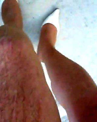 Big load of cum through tanned nylon pantyhose 02