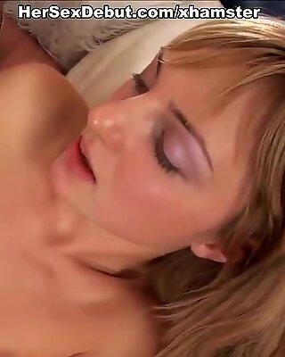 Hot amateur blond masturbates through her lingerie and