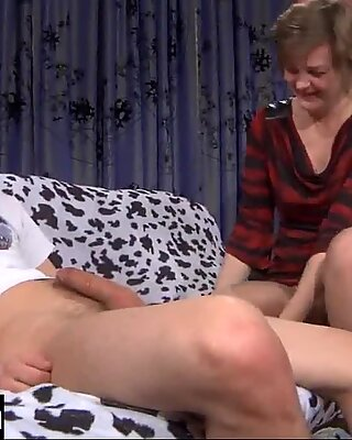 Sultry milf in hold-ups draining a young guy&rsquo_s dick after a doggystyle fuck