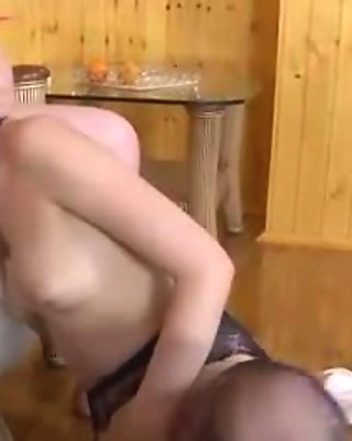 Young blonde in pantyhose gets slammed by older daddy hardcore