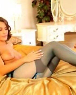Blue nylons and shocking pantyhose