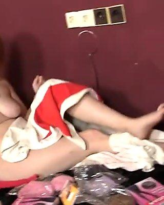Dildo addicted redhead Samantha poses in pantyhose and gonna masturbate