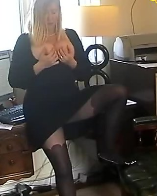 BBW Secretary Slut In Black Pantyhose