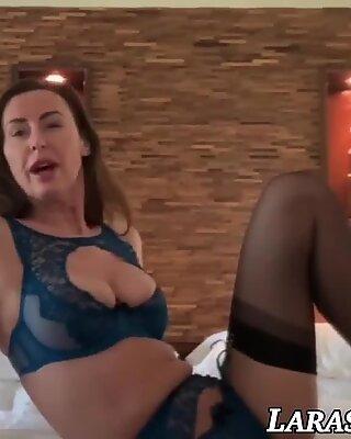 Elegant British mature in lingerie solo pussy pleasing
