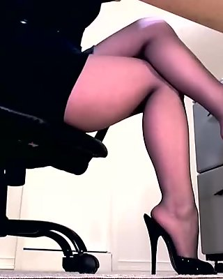 Slut in pantyhose and high heels showing off her feet