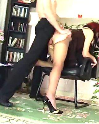 Russian Pantyhose Redhead Blowjob and Pantyhose fuck