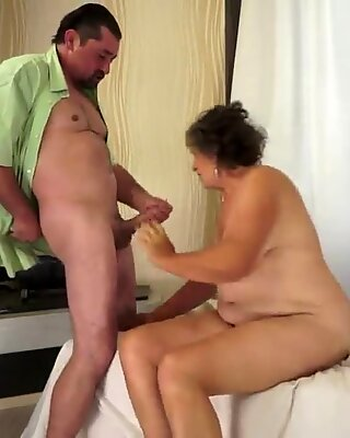 A positively ancient woman sucks a fat cock