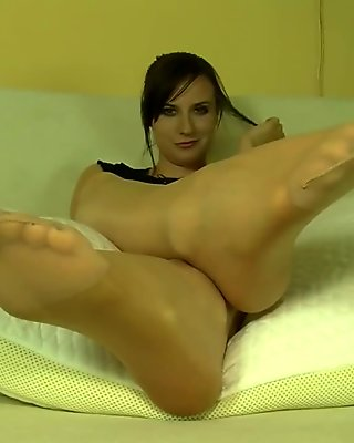 Sexy maid tease with her feet