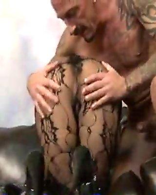 Hottie In Hose Masturbates And Sucks Dick