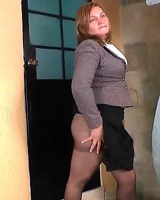 Office milf Allison peels off her pantyhosed panties and shows her secret