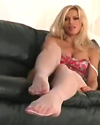 Sexy act in black pantyhose
