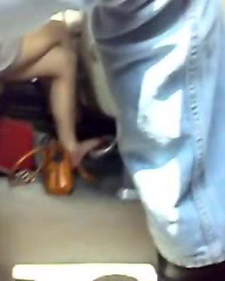 french teen tan pantyhose in the train