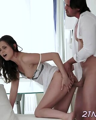Euro model fucked on all fours by fat cock