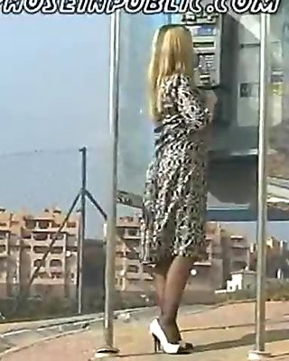 slut wife in stockings flashes on street